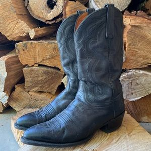 Lucchese Black Western Cowboy Leather Boots